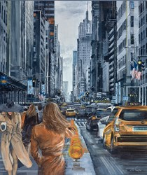 Sunday on the Fifth by Ziv Cooper - Original Painting on Box Canvas sized 34x40 inches. Available from Whitewall Galleries